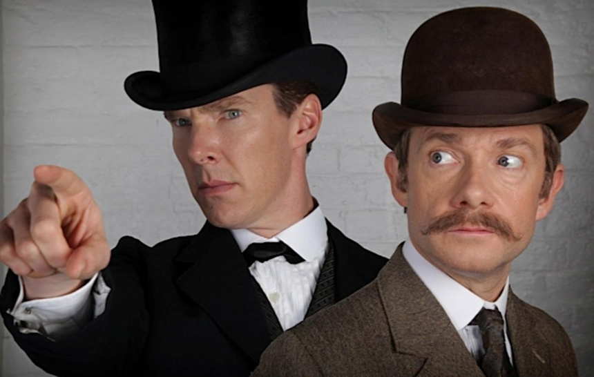 Benedict Cumberbatch And Martin Freeman Shooting Victorian Era SHERLOCK Special For BBC