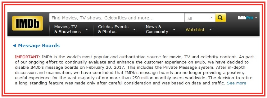 Have Your Say: IMDb Is About To Delete Its Message Boards