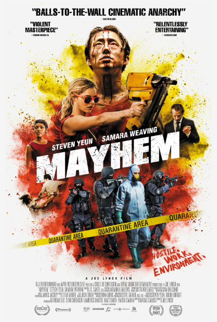 Review: MAYHEM, Clawing to the Top, With Humor, Smarts, and a Nail Gun